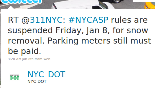 Retweet by DOT of 311's tweet that parking rules are suspended