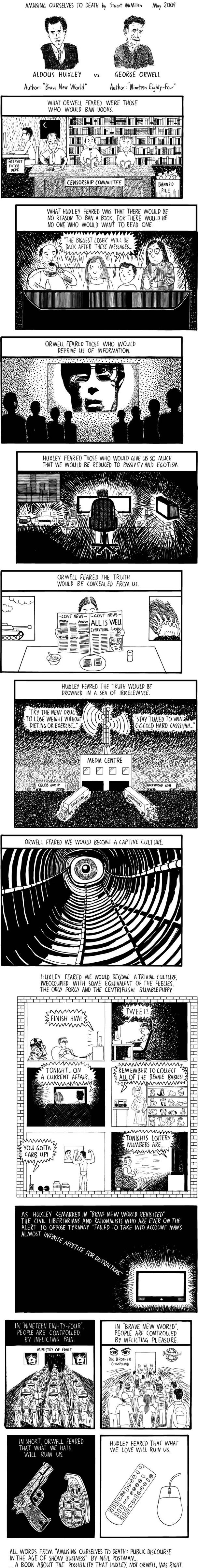 a webcomic that looks at the possibility that huxley was more right than orwell