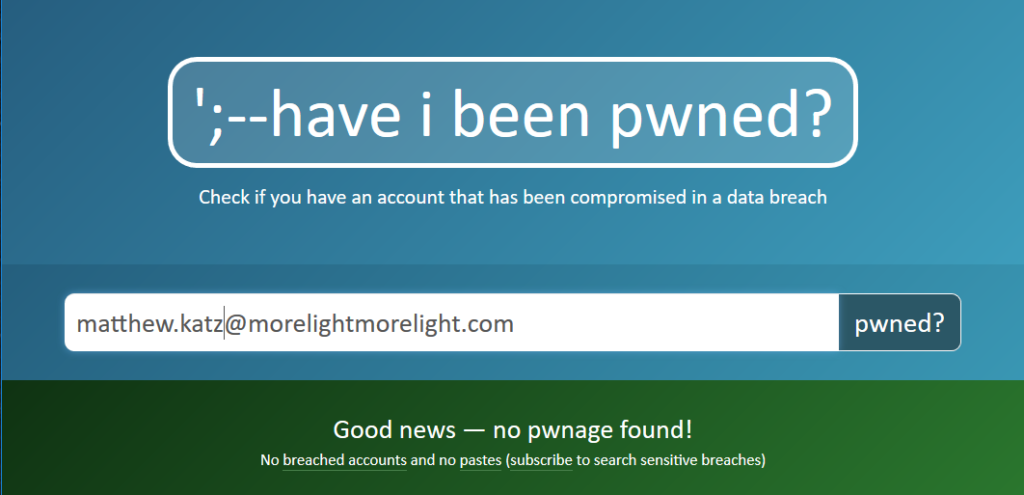 Image showing that my primary email hasn't been in a data breach