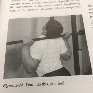 "A photo from Mark Rippetoe's Starting Strength showing bad squat form captioned ""Don't do this, you fool."""