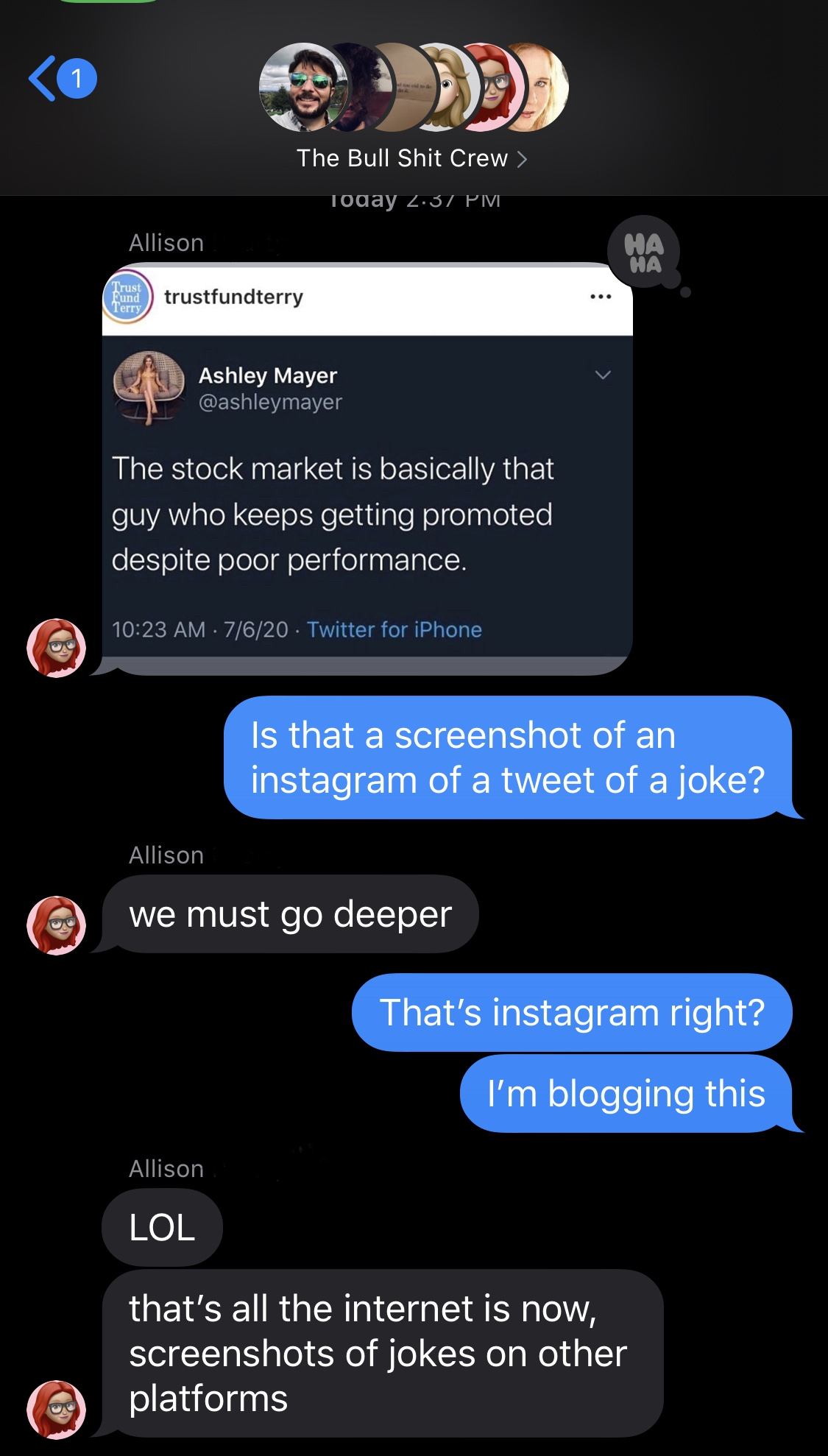 A screenshot of a group text message chain where  Allison posted a screenshot of an  Instagram of a screenshot of a twitter post of an old joke
