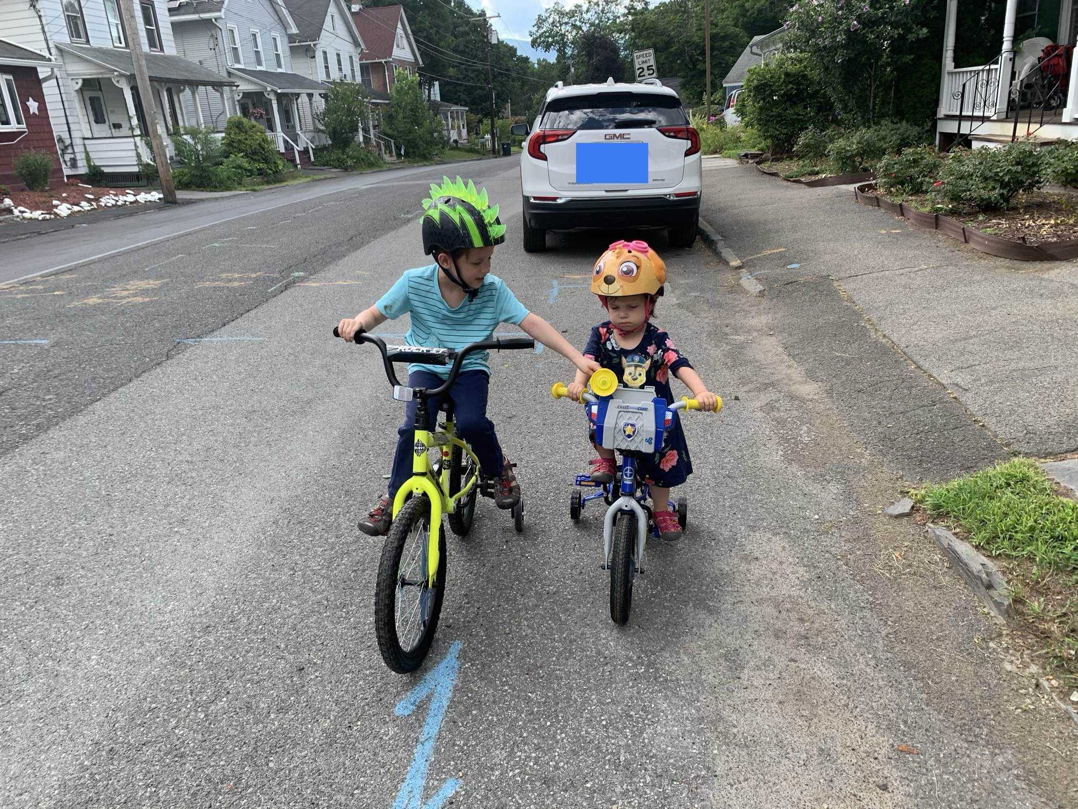 Swale and Z on their new bikes